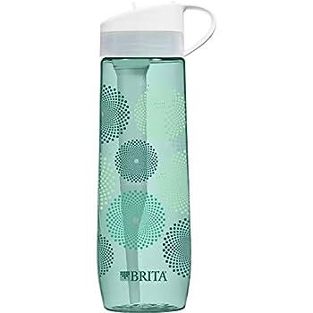 Brita 23.7 Ounce Hard Sided Water Bottle with Filter - BPA Free (Mint Sunburst)