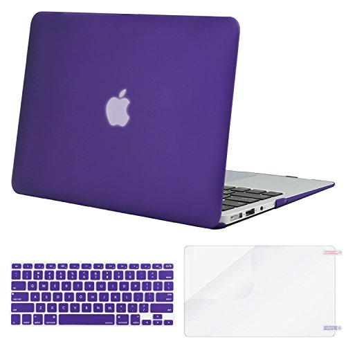 MOSISO Plastic Hard Case & Keyboard Cover & Screen Protector Only Compatible MacBook Air 13 Inch (Models: A1369 & A1466, Older Version Release 2010-2017), Solid Purple