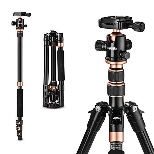 "Rangers 55"" Ultra Compact and Lightweight Aluminum Tripod with 360° Panorama Ball head"