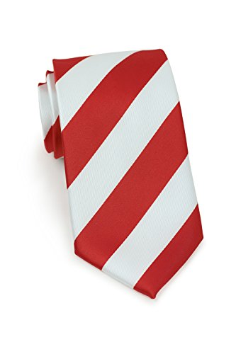(Bows-N-Ties Men's Necktie Wide Striped Microfiber Satin Tie 3.25 Inches (Bright Red and White))