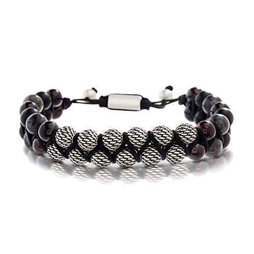Bracelets With Beads (Steve Madden Men's Grey Simulated Labradorite and Red Garnet Bead Adjustable Bracelet Set in Stainless Steel,)