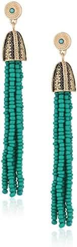 Steve Madden Tribal Textured Beaded Tassel Gold Drop Earrings