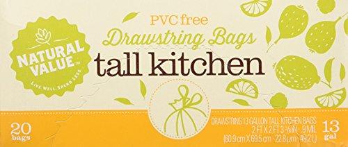 - Natural Value 13 Gallon Drawstring Tall Kitchen Bags, 20 Bags