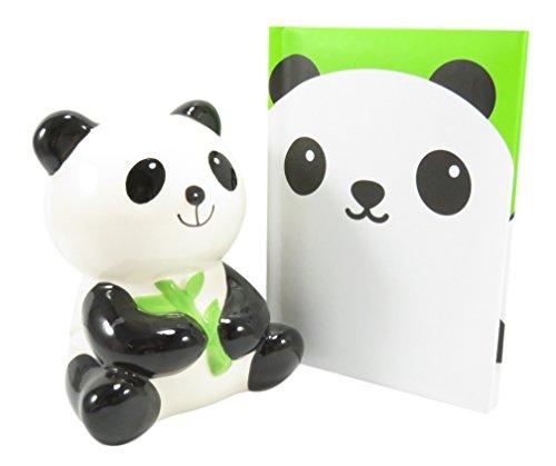 Adorable Ceramic Panda With Bamboo Savings Bank With Panda Pocket Notebook Journal Diary (Bundle of 2)