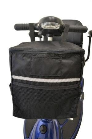 Diestco Soft Basket Scooter Accessory | Storage Bag Easily Attaches To Mobility Scooter Tiller | Storage For Personal Belongings, Valuables, Groceries, Etc.