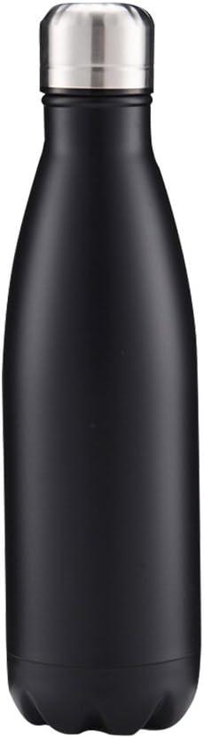 SEPT MIRACLE Mantenga calientes y frías de acero inoxidable de colores botella de agua con aislamiento al vacío a prueba de fugas doble pared Sport Cups (500 ml) (negro mate)