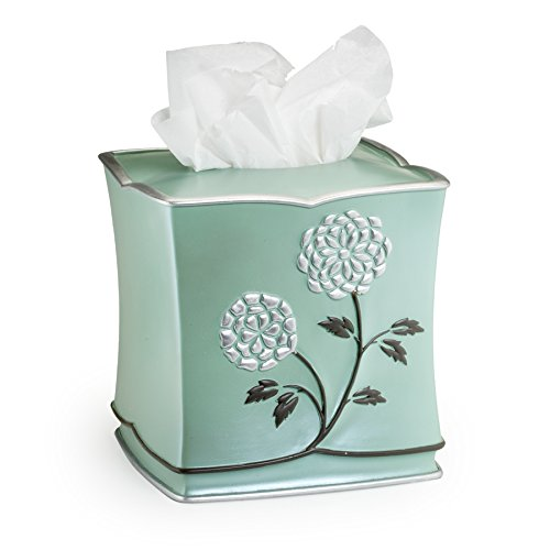 Popular Home The Avanti Collection Tissue Box, Aqua, 8 by 8 by 8""