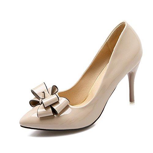 Pompe Donne Verniciata on Rilevare Delle Allhqfashion tacchi Punta Pelle calzature Beige Chiusa Pull Solido PaxqwEC1d