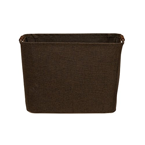 Household Essentials 601 Medium Shelf Basket with Wood Handles | Multi-Purpose Home Storage Bin | Brown Coffee ()