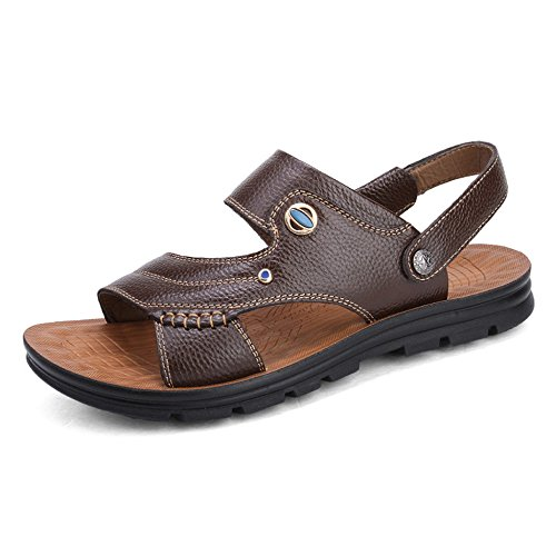 Mens Leather Sandals Open Toe Summer Breathable Footwear Comfy Beach Sandals Slippers Flip Flops Coffee urfuH9D3Yb