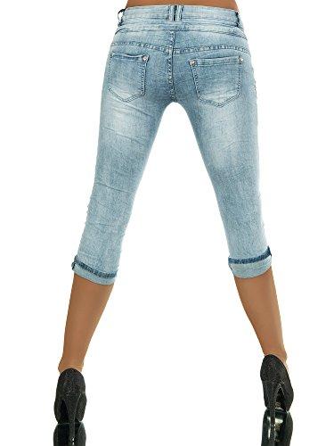 Diva capri Pantaloncini Donna Jeans Blau Pantalone Basic wFUgxq