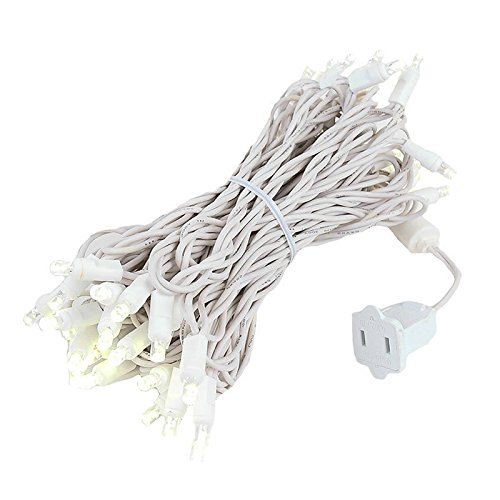 Novelty Lights 50 Light LED Christmas Mini Light Set, Outdoor Lighting Wedding Patio String Lights, Warm White, White Wire, 25 Feet