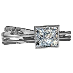 Artificial Diamonds Square Tie Clip