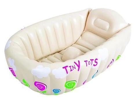 Amazon.com : Tiny Tots Baby Infant Travel Inflatable Bath Tub Cream ...