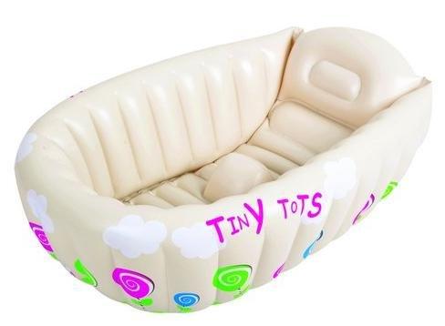 Bañera hinchable infantil Tiny Tots para viajes, color crema ...