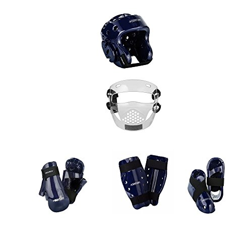 Century Karate 8 pc Sparring Gear Combo Set with shin guards and face shield blue child small