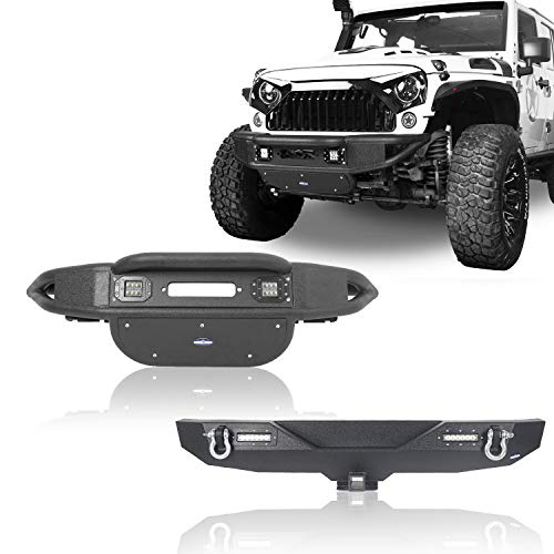 u-Box Jeep JK Bumpers Front and Rear,Tubular Front Bumper w/ & Different Trail Rear Bumper Kit for 2007-2018 Jeep Wrangler JK