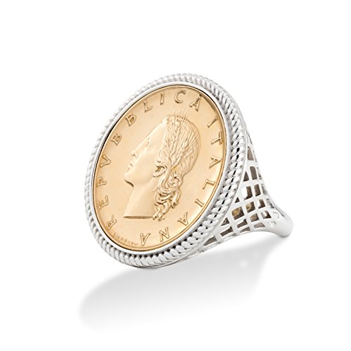 g Silver Genuine Italian 20 Lira Coin Rope Ring for Women (10) ()