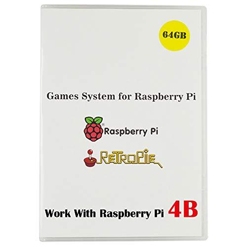 BeiErMei Raspberry Pi 4B Game System, Retropie 4.5.1 Preloaded 64GB Games Plus Data with Class 10 MicroSD TF Card, Only Work with Raspberry Pi 4B, Arcade Nintendo Sega etc (Preloaded Micro Sd Cards)