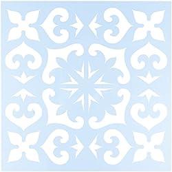 """CLEARSNAP Clear Scraps CSSMMEXTILE12 Stencils, 12"""" x 12"""", Mexican Tile, Blue"""