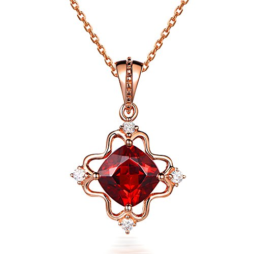 Amazing Fashion Natural Garnet Valentine's Day Diamond 14K Rose Gold Natural Engagement Bridal Wedding Pendant Sets For Women by Kardy