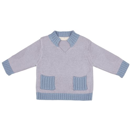Toffee Moon Baby Boys Chunky Jumper Blue Pebble Periwinkle Trim Cotton Pockets