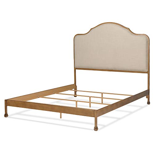 Leggett & Platt Calvados Complete Metal Bed and Bedding Support System with Sand Colored Upholstered Headboard, Natural Oak Finish, Queen