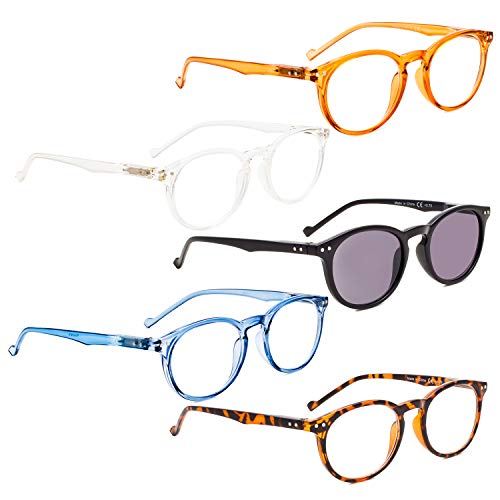 (READING GLASSES 5 pack Oval Round Readers Include Sunshine Readers +1.75 )