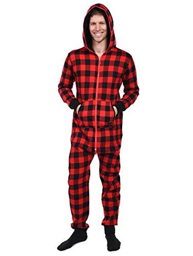 Buffalo Plaid Jumpsuit - Black and Red Adult Onesie: Large