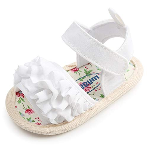 Infant Baby Girls Summer Sandals with Flower Soft Sole Newborn Toddler First Walker Crib Dress Shoes(0-18 Months) 0-6 Months M US Infant,D-White Baby Girl Sandals