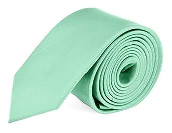 Moda Di Raza- Extra Skinny Necktie 1.5 in Mens Slim Ties Polyester NeckTie - Aqua Green