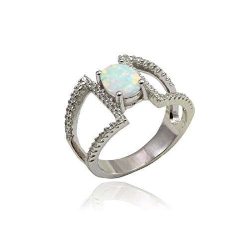 Fashion Ring Oval Lab Created White Opal Round Cubic Zirconia Split Open Shank 925 Sterling Silver (Rounds Shank Open Ring)