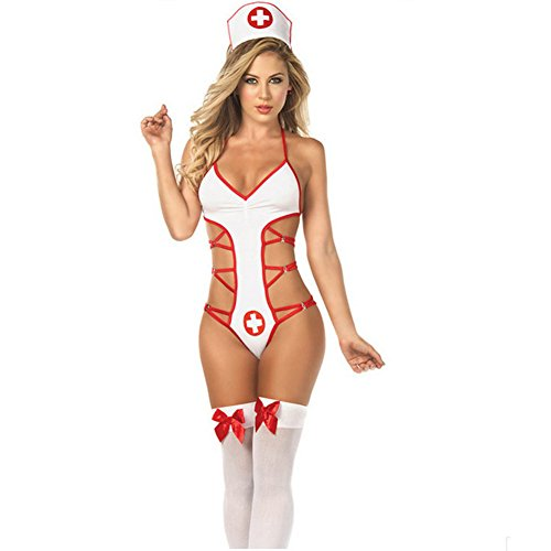 Sexy Nurse Uniform (Woopower Women Super Sexy Nurses Uniform Temptation Halloween Underwear Costumes Lingerie,Free Size (White))