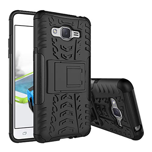 FilmHoo Samsung Galaxy J2 Grand Prime Phone, Galaxy Grand Prime Plus Case, Kickstand Double Protection Shock Absorption Technology Phone Case,Black (Best Phone Case For Galaxy Grand Prime)