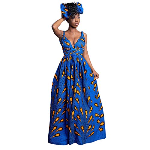 - YFancy Women Sling Sleeveless Dresses Casual V Neck Maxi Dress Summer Loose Bohemian Floral Bandage Party Long Dress Dark Blue