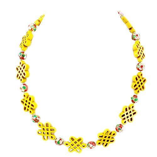 Yellow Magnesite Turquoise & Red Cloisonne Necklace 18