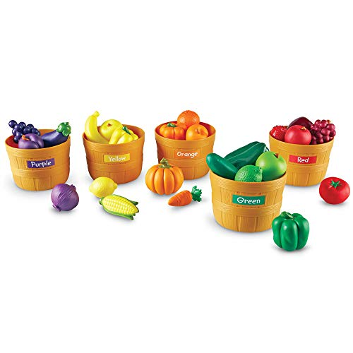 Learning Resources Farmer's Market Color Sorting Set, Play Food, Fruits and Vegetables Toy, 25 Piece Set, Ages 3+ (Food Vegan Play)
