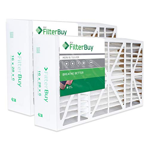 FilterBuy 16x28x6 Pleated AC Furnace Air Filters Compatible with/Replacement for Aprilaire Space-guard 2400. AFB Silver MERV 8. Pack of 2.