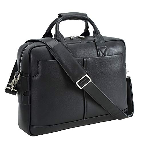 Polare Men's Thick Authentic Genuine Leather 16'' Laptop Case Bag Briefcase (Napa Black) ()