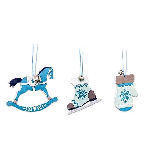 FTXJ Christmas Bell 3PCS Nordic Style Wooden Blue White Christmas Drawing Pendant Home Decoration (3PCS, B)