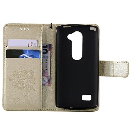 OuDu Funda LG Leon 4G LTE H340N/C40/C50 Carcasa de Billetera Funda PU Cuero para LG Leon 4G LTE H340N/C40/C50 Carcasa Suave protector con Correas de Teléfono Funda Arbol Flip Wallet Case Cover Bumper