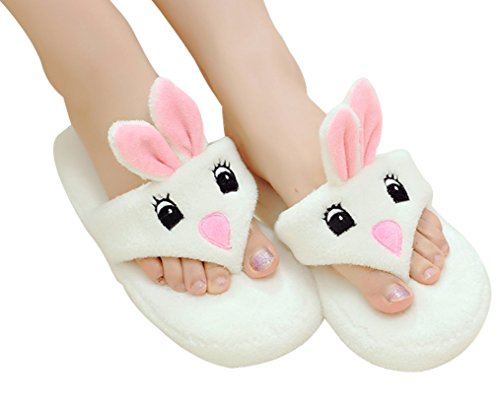 Cattior Womens Cute Thong Bunny Slippers Funny Slippers (8, creamy-white)