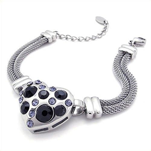 Epinki Stainless Steel Bracelet, Mens Heart Cubic Zirconia Bracelet Silver Length 8.6 (Diy 80s Costume Pinterest)