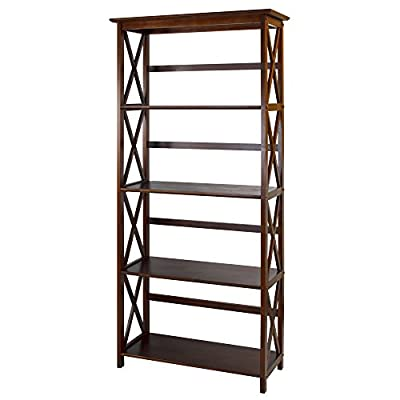 Casual Home Shelf Bookcase - Five (5) spacious shelves provide all the storage space you need Contemporary x-design styling gives this piece a chic, airy look that prevents books from falling Four (4) durable legs provide balanced support for your belongings - living-room-furniture, living-room, bookcases-bookshelves - 41ngM2agYJL. SS400  -