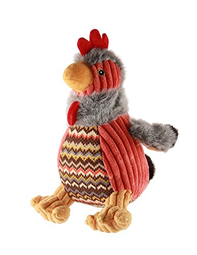 HuggleHounds Plush Corduroy Durable Squeaky Knottie, Dog Toy, Great Dog Toys  for Aggressive Chewers, Rooster Rockey, Large ()