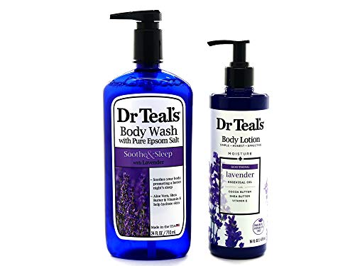 Teal And Lavender (Dr Teals Lavender Body Wash w/Pure Epsom Salt - Bundle w/Dr Teals Lavender Body Lotion! Soothing)