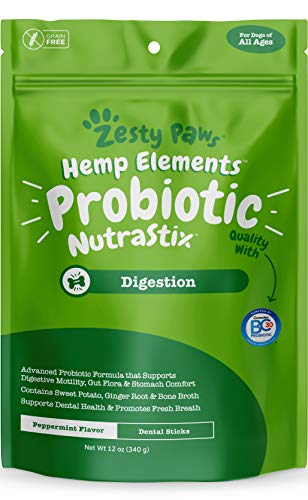 Probiotic Dental Sticks for Dogs - With Hemp, Sweet Potato, Bone Broth & Ginger - Dog Teeth Cleaning & Tartar Control Treats with Digestive Probiotics - Helps with Gas, Bloating & Diarrhea - 12 OZ