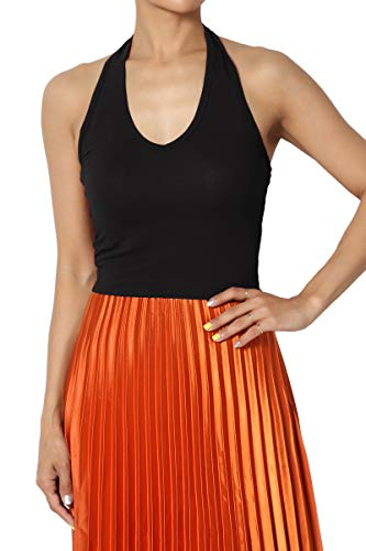 TheMogan Junior's Festival Sexy Stretch Jersey V-Neck Halter Crop Tank Top Black M