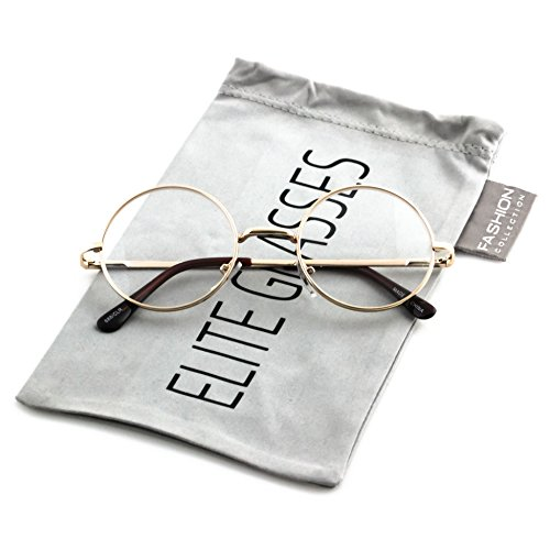 Elite Non-Prescription Lennon Style Round Circle Frame Clear Lens Metal frame Glasses (Gold, Small - Sunglasses Lennon Prescription John