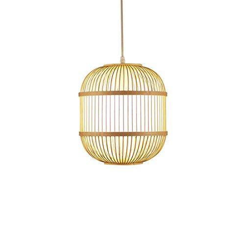 Chandelier,Modern LED Pendant Light Chandelier LED Pendant Lighting Chinese Zen Japanese Restaurant a Small Chandelier lamp Birdcage Single Bamboo Weaving Light Dining Table Chandelier D29h29cm